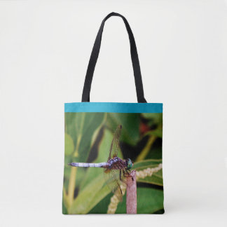 Teal blue dragonfly purple flowers pond w/ Name Tote Bag