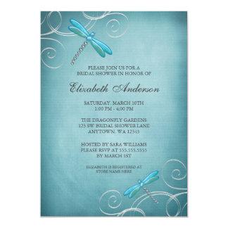 Teal Blue Dragonfly Swirls Bridal Shower 13 Cm X 18 Cm Invitation Card