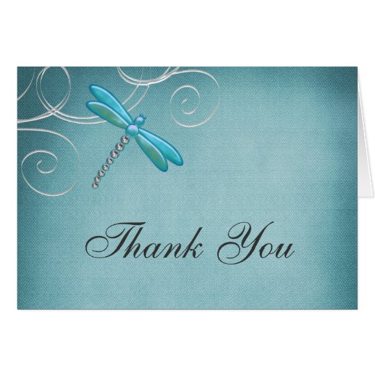 Teal Blue Dragonfly Swirls Thank You Card