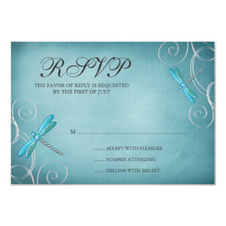 Teal Blue Dragonfly Swirls Wedding Response Card 9 Cm X 13 Cm Invitation Card