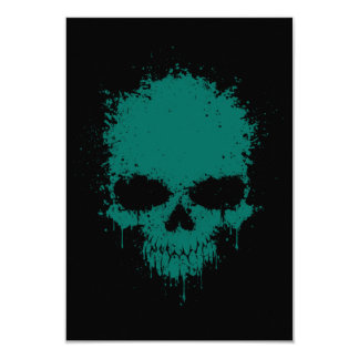 Teal Blue Dripping Splatter Skull Personalized Announcements