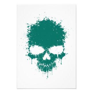 Teal Blue Dripping Splatter Skull Invite