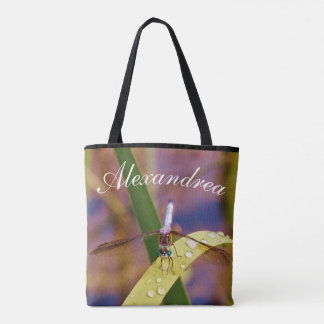 Teal Blue eye dragnfly personalized w/ Name Tote Bag