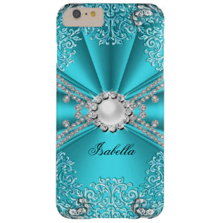 Teal Blue Faux Diamond Jewel Floral Lace Barely There iPhone 6 Plus Case