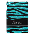 Teal Blue Faux Glitter Zebra Personalised Cover For The iPad Mini