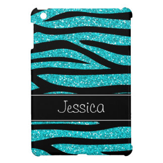 Teal Blue Faux Glitter Zebra Personalized Cover For The iPad Mini