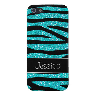 Teal Blue Faux Glitter Zebra Personalized iPhone 5/5S Cases