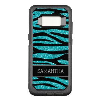 Teal Blue Faux Glitter Zebra Personalized OtterBox Commuter Samsung Galaxy S8 Case