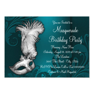 Teal Blue Feather Mask Masquerade Party 11 Cm X 16 Cm Invitation Card