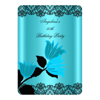 Teal Blue Floral Black Lace Birthday Party 2 4.5x6.25 Paper Invitation Card