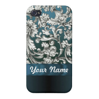 Teal blue floral damask pattern cases for iPhone 4