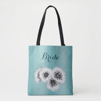 Teal Blue Floral Texture Bride Wedding Tote Bag