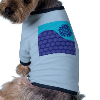 Teal Blue Flower and Purple Polka Dots Pattern Dog T-shirt