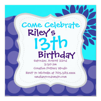 Teal Blue Flower and Purple Polka Dots Pattern 5.25x5.25 Square Paper Invitation Card