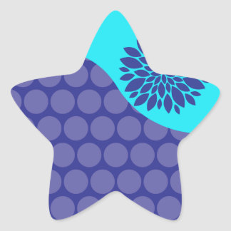 Teal Blue Flower and Purple Polka Dots Pattern Star Sticker