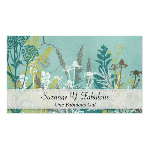 Teal Blue Flowers Stamped Fancy Business Cards