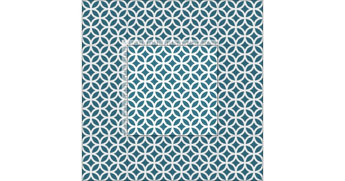 Teal Blue Geometric Pattern Fabric | Zazzle.co.uk