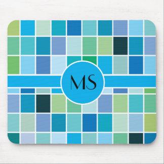 Teal Blue Geometric Pattern Mouse Pad