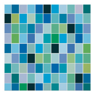 Teal Blue Geometric Pattern Poster