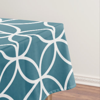 Teal Blue Geometric Pattern Tablecloths