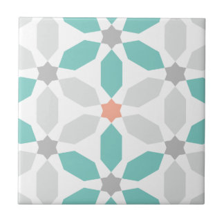 Teal Blue Geometric Pattern Tile