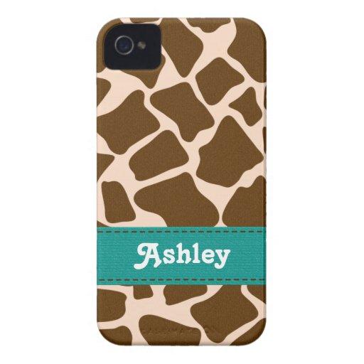 Teal Blue Giraffe Print Blackberry Bold Case