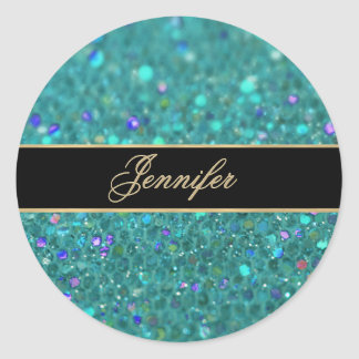 Teal Blue Glitter Round Sticker