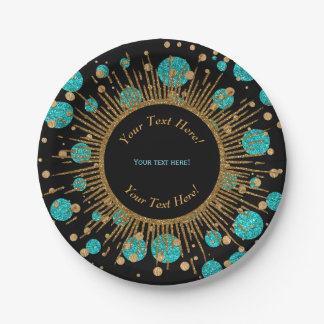Teal Blue Gold Birthday Party Paper Plate