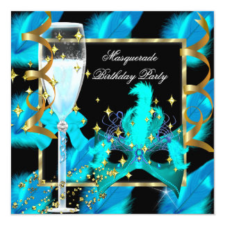 """Teal Blue Gold Mask Masquerade Party Birthday 5.25"""" Square Invitation Card"""