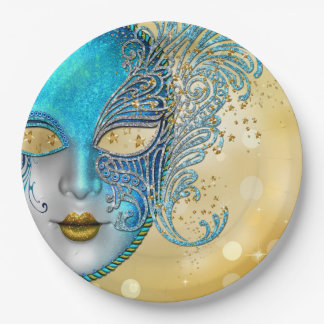 Teal Blue Gold Masquerade Party 9 Inch Paper Plate
