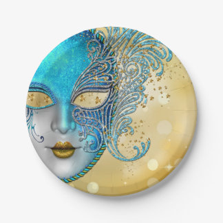 Teal Blue Gold Masquerade Party Paper Plate