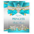 Teal Blue Gold Princess Baby Shower Carriage Card