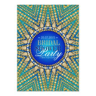 "Teal Blue Gold Sun Glitter Bridal Shower 5"" X 7"" Invitation Card"