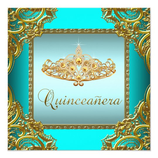 Teal Blue Gold Tiara Quinceanera Card