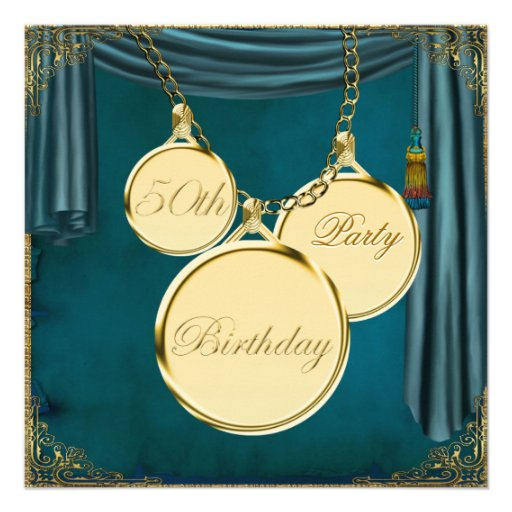 Teal Blue Gold Womans 50th Birthday Party Custom Invitations