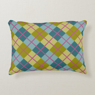 Teal Blue Gold Yellow Magenta Pattern Decorative Cushion
