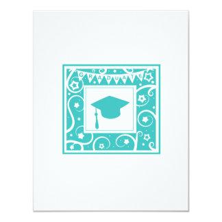 Teal blue graduate mortar board hat invitations