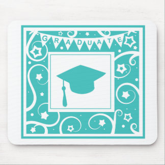 Teal blue graduate mortar board hat mouse pads