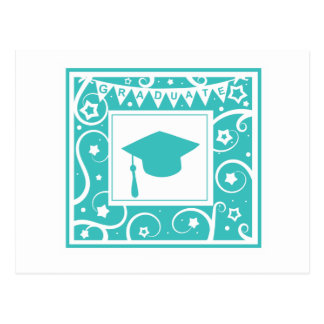Teal blue graduate mortar board hat postcard