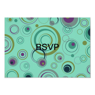 Teal, Blue, Green and Purple Playful Retro Circles 3.5x5 Paper Invitation Card