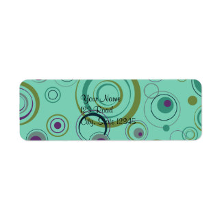 Teal, Blue, Green and Purple Playful Retro Circles Return Address Label