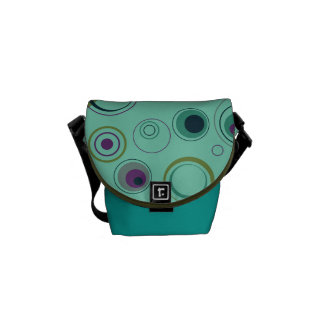 Teal Blue Green and Purple Playful Retro Circles Commuter Bag