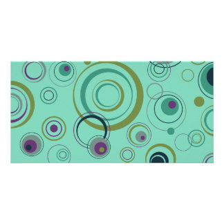 Teal, Blue, Green and Purple Playful Retro Circles Picture Card