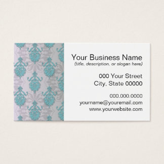 Teal Blue Green and Silvery White Damask Business Card