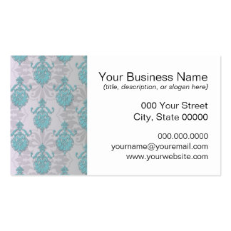 Teal Blue Green and Silvery White Damask Pack Of Standard Business Cards