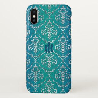 Teal Blue Green Damask Monogram iPhone X Case