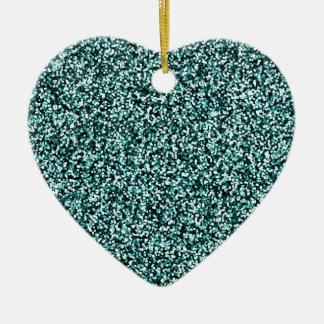 Teal Blue Green Faux Glitter Ceramic Heart Decoration