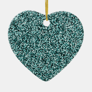 Teal Blue Green Faux Glitter Christmas Ornament