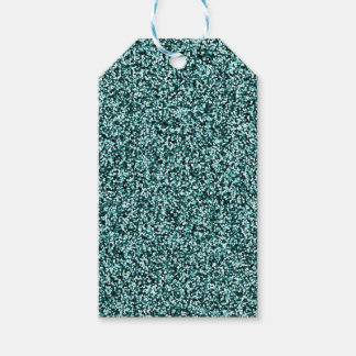 Teal Blue Green Faux Glitter Gift Tags