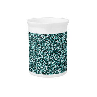 Teal Blue Green Faux Glitter Pitcher